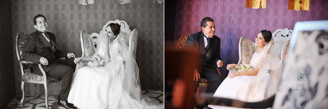 La novia y el novio riendo juntos, fotografia de boda de Denisse y Emilio en Aguascalientes