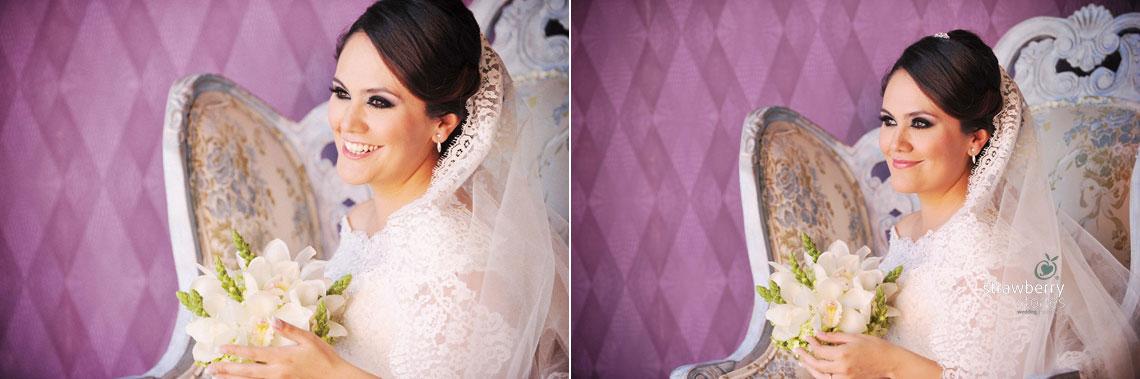 La novia sonriendo, sesion fotografica de boda de Denisse y Emilio en Aguascalientes